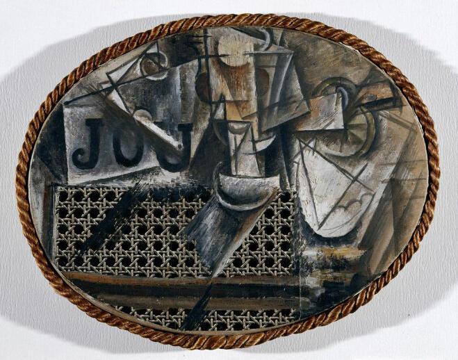 Nature morte à la chaise cannée  [Printemps 1912]  Huile et toile cirée sur toile encadrée de corde  29 x 37 cm  Dation en 1979 Inv.: MP36