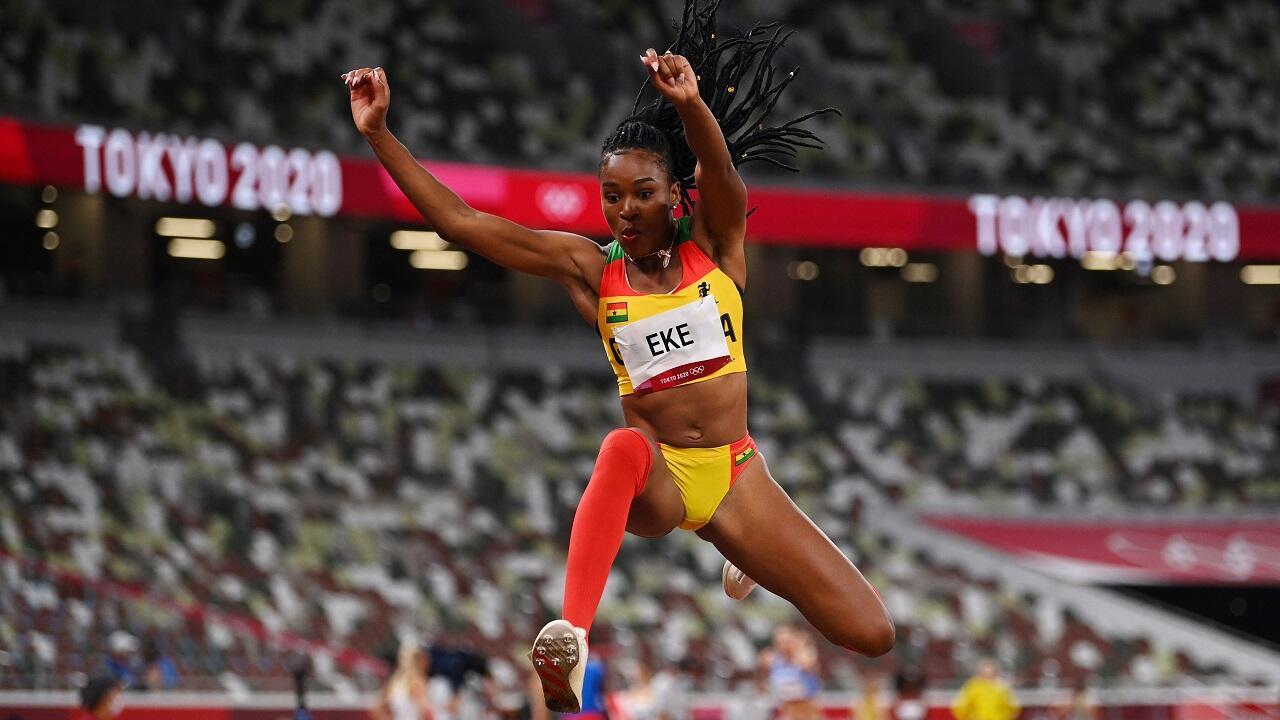 L'athlète ghanéenne Nadia Eke, spécialiste du triple saut, le 30 juillet 2021 lors des Jeux de Tokyo.