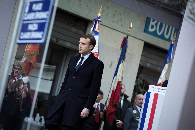 Emmanuel Macron durante o primeiro dia de sua visita à Córsega.