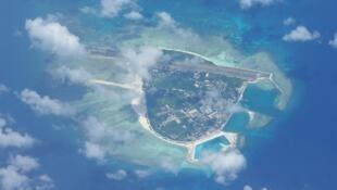 Đảo Phú Lâm thuộc quần đảo Hoàng Sa của Việt Nam, ảnh chụp từ vệ tinh.