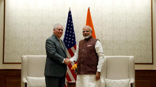U.S. Secretary of State Rex Tillerson shakes hands with Indian Prime Minister Narendra Modi before their meeting at the Prime Minister's residence in New Delhi, India, October 25, 2017