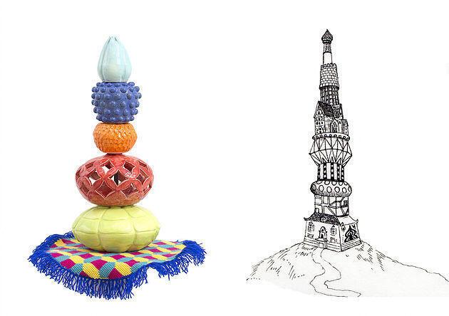 Diálogo entre peça de crochê de Carolina Ponte e desenho de Pedro Varela