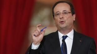 François Hollande durante la rueda de prensa, este 16 de mayo de 2013 en París.