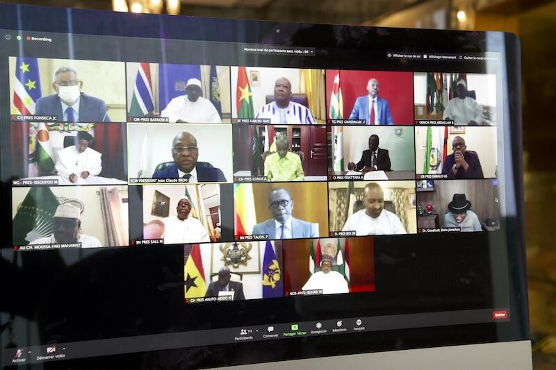 Ecowas video conference chaired by Niger's President Mahamadou Issoufou on 28 August 2020.