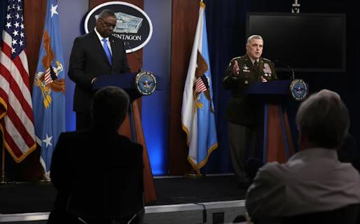 美国国防部长奥斯汀与参谋长联席会议主席米利资料图片