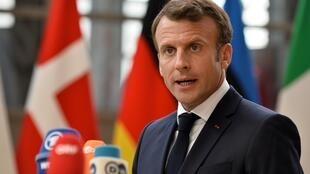 French President Emmanuel Macron speaks to the media ahead of a European Union leaders summit that aims to select candidates for top EU institution jobs, in Brussels, Belgium June 30, 2019.