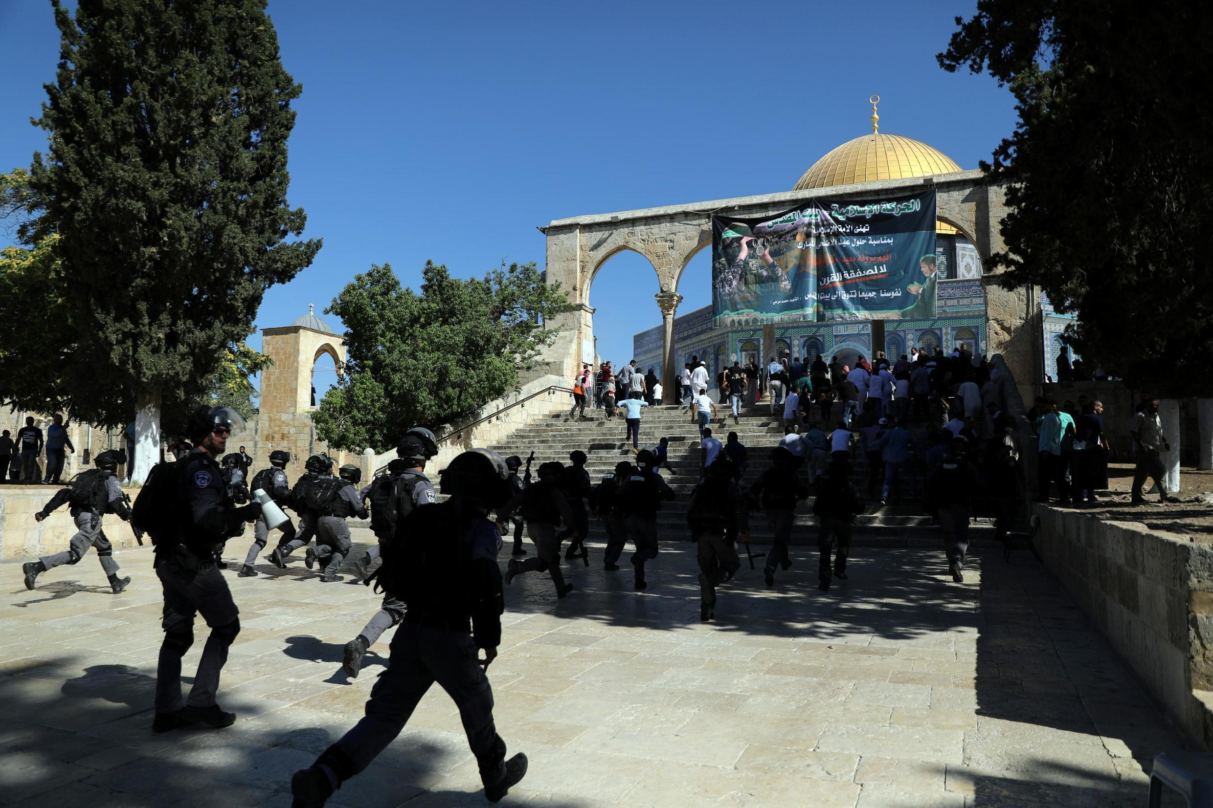 Israeli police and Palestinian worshippers clash on the compound known to Muslims as Noble Sanctuary and to Jews as Temple Mount on 11 August, 2019.