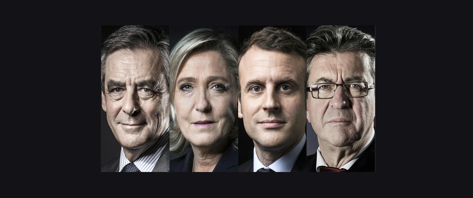 Les 4 candidats principaux, selon les sondages, à l'élection présidentielle en France.
