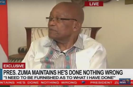 O presidente Jacob Zuma durante uma entrevista