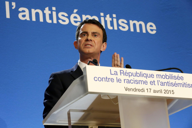 Thủ tướng Pháp Manuel Valls trình bày các biện pháp chống kỳ thị tại Créteil ngày 17/04/2015. Ảnh minh họa.