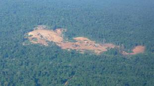 Mine d'or (légale) dans la forêt guyanaise à Maripasoula.