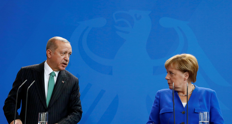Recep Tayyip Erdogan et Angela Merkel lors de leur conférence de presse commune, le 28 septembre 2018.