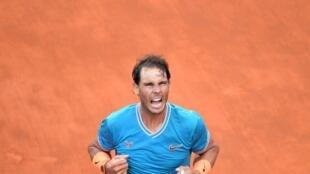 Rafael Nadal lors de sa victoire à Rome, le 19 mai 2019.
