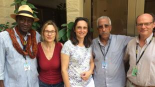 De gauche à droite: Baba Diop, Elisabeth Lequeret, Sophie Torlotin, Ahmed Boughaba et Olivier Barlet.