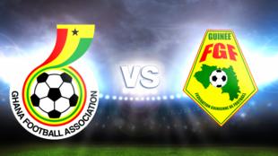 Emblemas das equipas de futebol do Gana e da Guiné Conacri com os ganeses a ganhar por 3/0, qualificando-se para as meias finais do CAN 2015