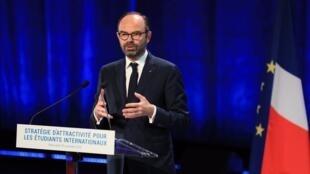 Le Premier ministre Edouard Philippe, lors de la présentation du plan «Stratégie d'attractivité pour les étudiants internationaux», le 19 novembre 2018.