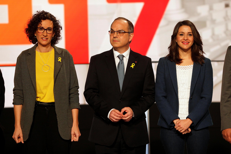 Từ trái : Bà Marta Roviran tổng thư ký đảng Cánh tả Cộng Hòa Catalunya, Junts per Catalunya đảng unts per Catalunya và bà Ines Arrimadas lãnh đạo Ciudadanos, trong buổi tranh luận trên truyền hình ngày 18/12/2017.