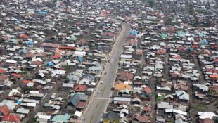 Goma, Nord Kivu, RD Congo : Vue aérienne partielle de la ville de Goma.