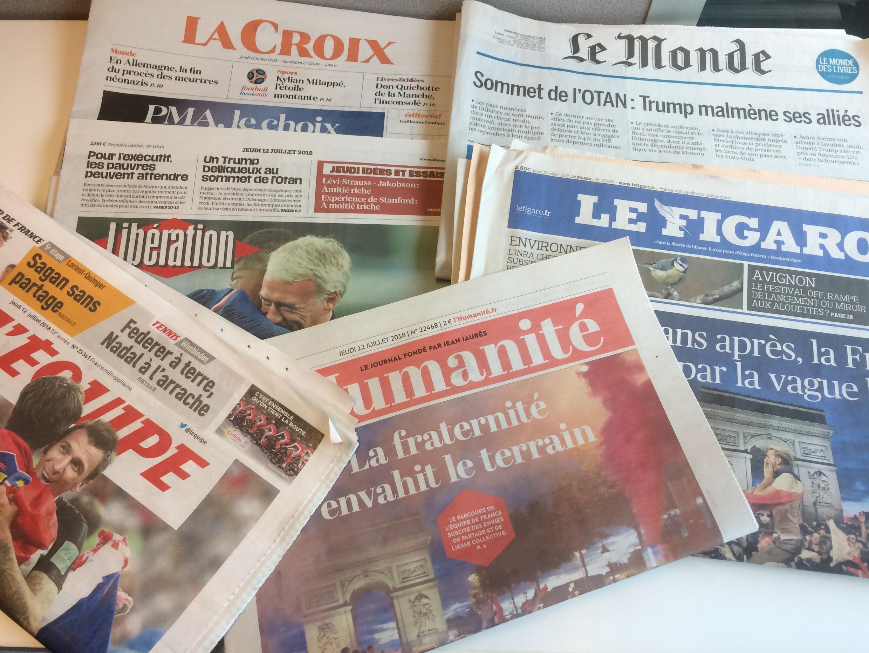 Primeiras páginas dos jornais franceses de 12 de julho de 2018