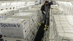 Un cargamento de la vacuna rusa Sputnik V contra el covid-19 llega a Buenos Aires el 24 de mayo de 2021