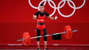 Luis Mosquera en la competición de halterofilia en la categoría masculina 67 kg, en los Juegos Olímpicos de Tokio 2020, el 25 de Julio de 2021.