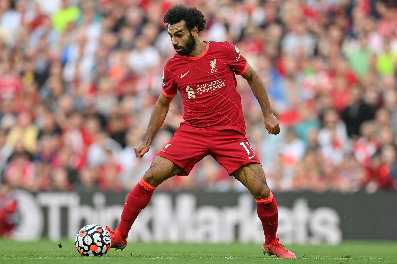 L'attaquant de Liverpool Mohamed Salah contre Chelsea, le 28 août 2021 à Liverpool