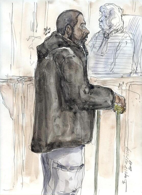 Bức phác họa chân dung của Peter Chérif trong một phiên tòa xét xử vào năm 2011 vì bị nghi là khủng bố.