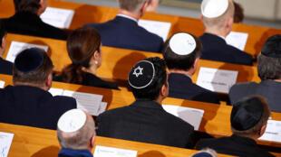 Commémoration de la «Nuit de cristal» dans une synagogue à Berlin, ce 9 novembre 2018.