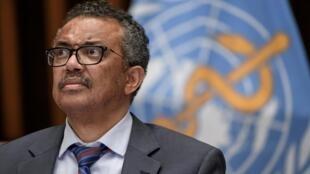 O diretor da organização Mundial da Saúde (OMS), Tedros Adhanom Ghebreyesus, na sede da organização, em Genebra, na suíça. Em 3 de julho de 2020.