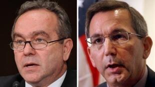 Kurt Campbell(g), secrétaire d'Etat adjoint américain, et son adjoint le député Scot Marciel(d), de la délégation américaine, sont arrivés en Birmanie, le 3novembre 2009.