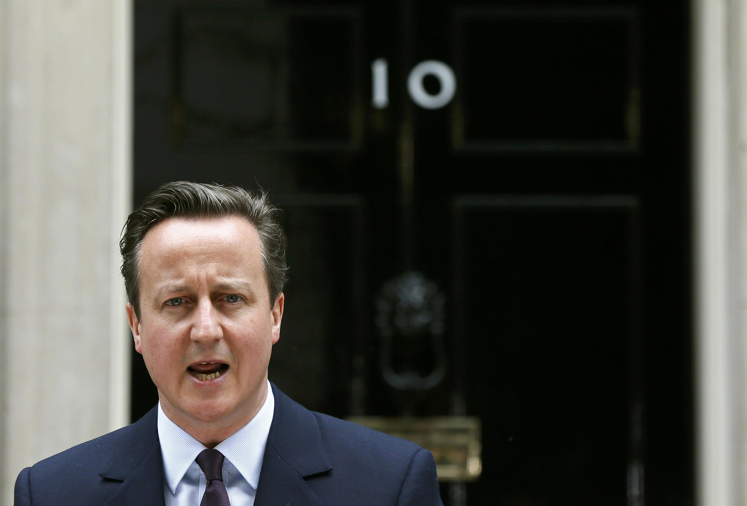Britain's Prime Minister David Cameron, whose Conservative Party won an unexpected clear majority in Britain's election Thursday