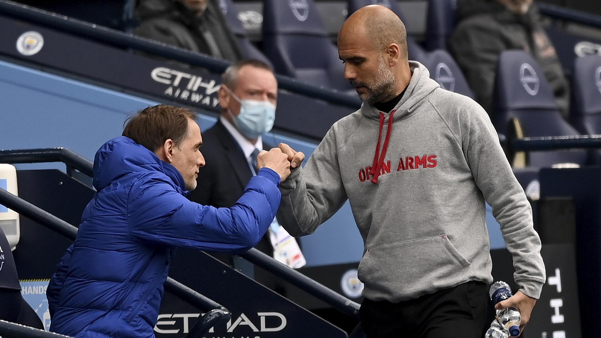 Football - Manchester City - Chelsea - entraineurs - Thomas Tuchel_ Pep Guardiola_AP21128595260170