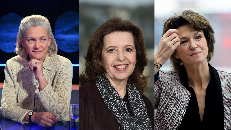 As únicas CEOs das companhias cotadas na bolsa de Paris (CAC 40): a filósofa Elisabeth Badinter, presidente do conselho de supervisão da Publicis, Sophie Bellon, presidente do conselho da Sodexo e Isabelle Kocher, diretora-geral da Engie.