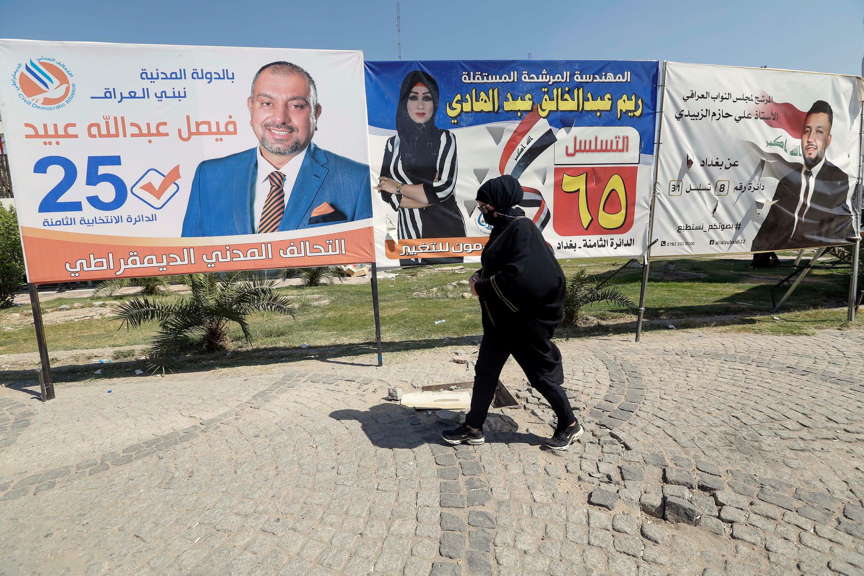 Des affiches de campagne électorale avant les élections législatives, à Bagdad, le 5 octobre 2021.