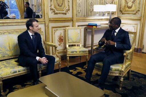 Emmanuel Macron et Patrice Talon, le 5 mars 2018, à l'Elysée.