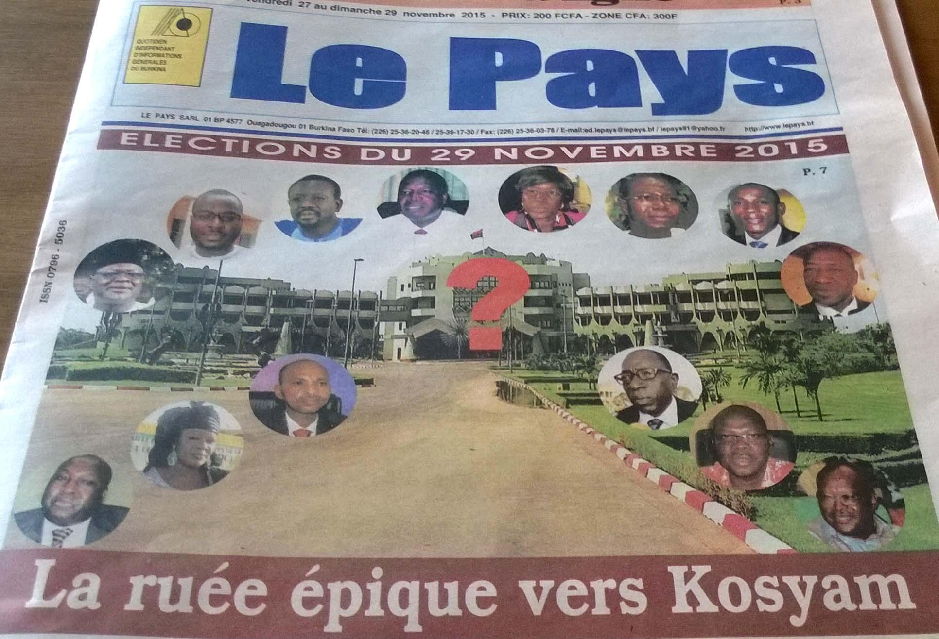 The epic rush to Kosyam (seat of the presidency), front page of the Le Pays newspaper, 27 November 2015