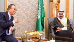 Le roi Salman d'Arabie saoudite et Ban Ki-moon, en novembre 2015 à Riyad.