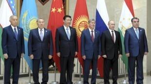 Слева направо: Ислам Каримов, Нурсултан Назарбаев, Си Цзиньпин, Алмазбек Атамбаев, Владимир Путин,Эмомали Рахмон