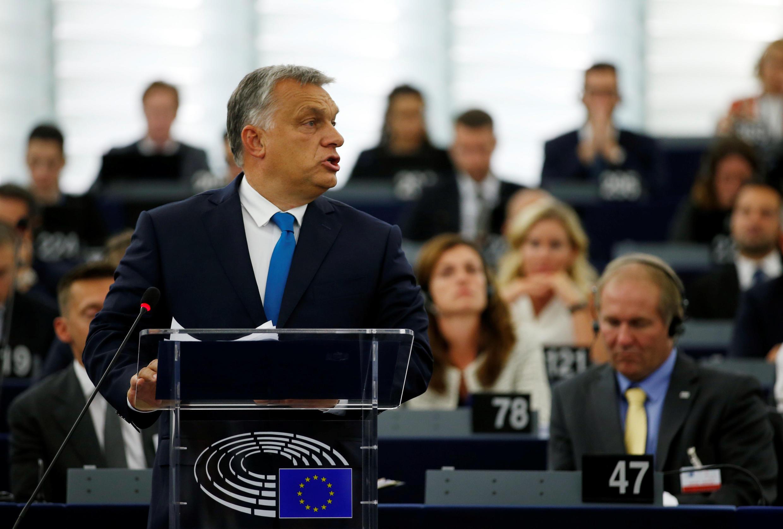 Le Premier ministre hongrois Viktor Orban au Parlement européen, le 12 septembre 2018.