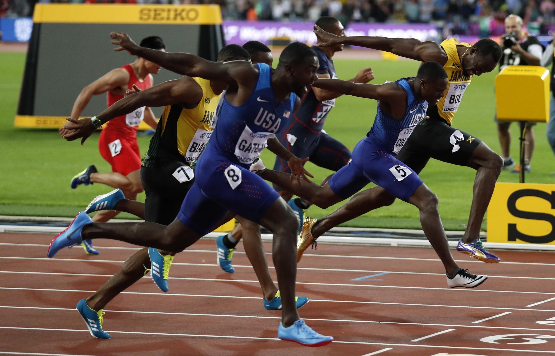 Gatlin, Coleman, y Bolt de tercero.