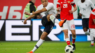 French forward Kylian Mbappé scored twice during France's friendly match against Russia in Saint Petersburg, 27 March 2018.