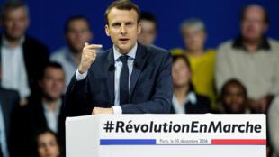 Emmanuel Macron, candidat à l'élection présidentielle française, le 10 décembre 2016. en meeting à Paris.
