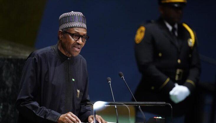 Shugaban Najeriya Muhammadu Buhari yayin jawabi gaban Majalisar Dinkin Duniya