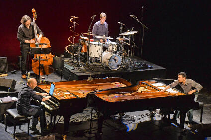 Aeham Ahmad performs with pianist Edgar Knecht, Rolf Denecke (bass) Tobias Schulte (drums)
