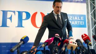 Heinz-Christian Strache, le président du FPÖ, lors de sa conférence de presse à Vienne, le 8 juin 2016.