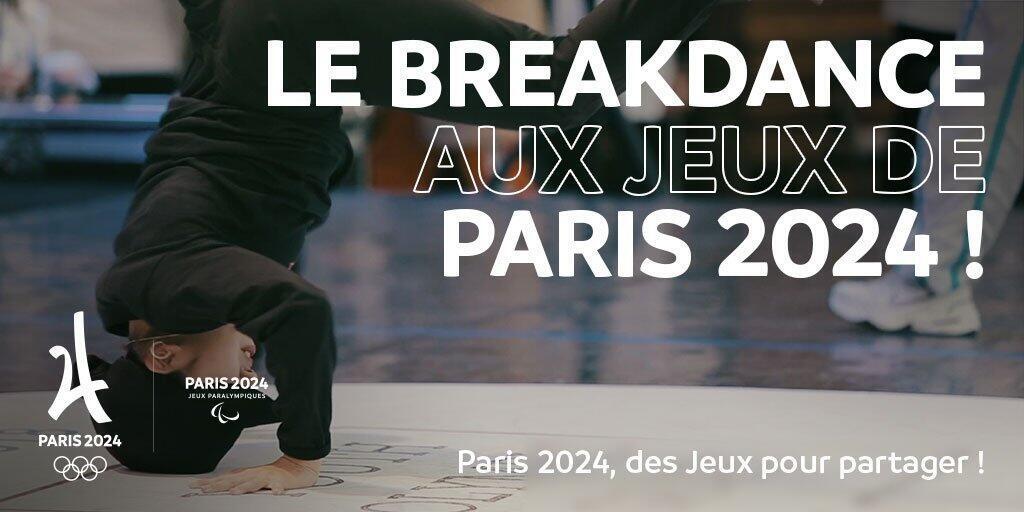 Cartel del comité olímpico organizador de Paris 2024 difundiendo el Break dance como disciplina candidata.