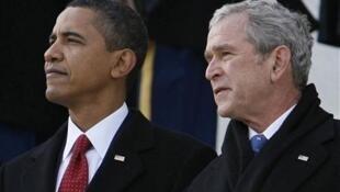 Marais wa zamani wa Marekani  Barack Obama (Kushoto) na George W. Bush (Kulia) wakati wa kumwapisha Donald Trump mwaka 2019