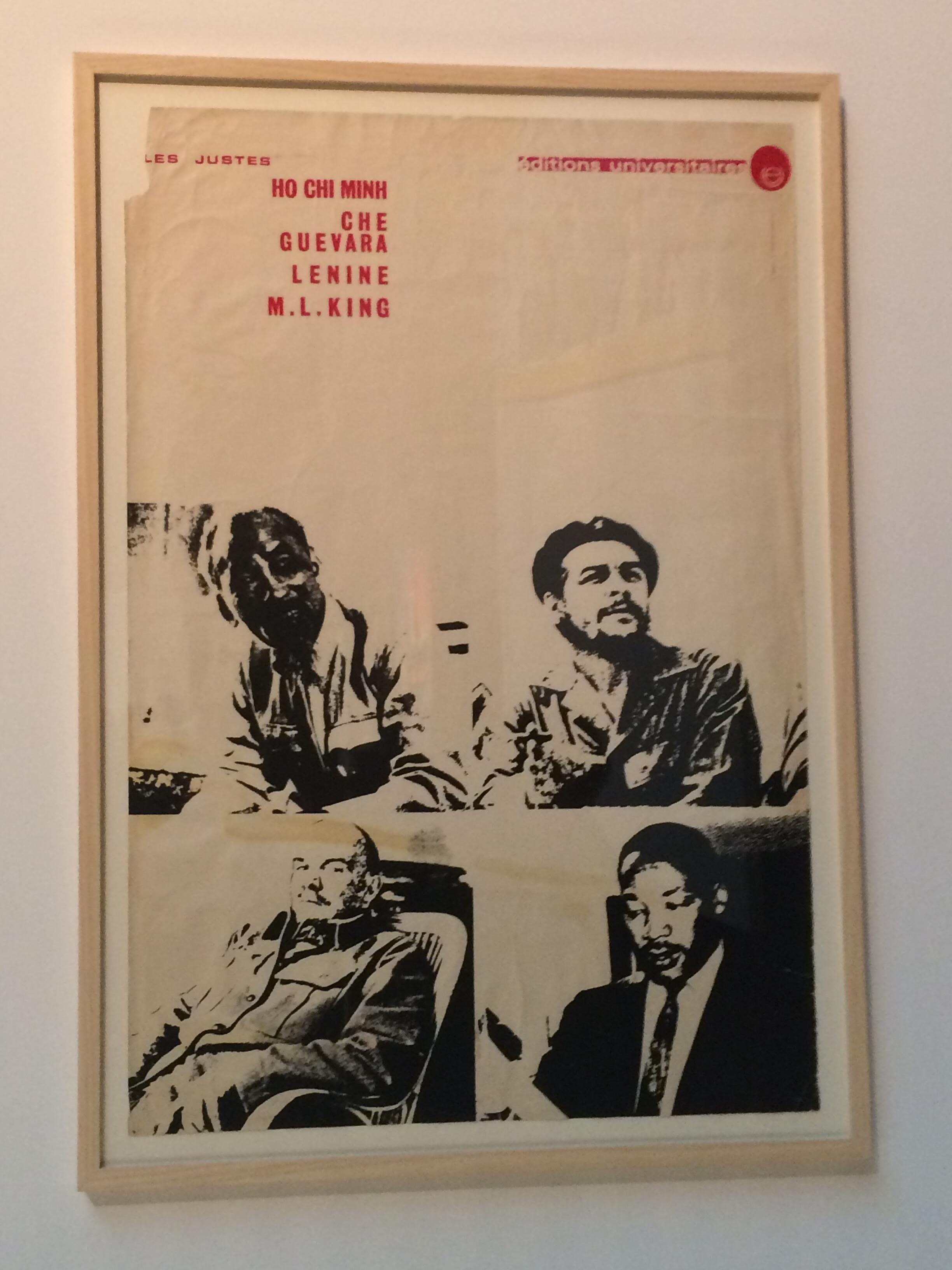 """""""Les Justes"""" by Maoist artist Pierre Buraglio, member of Atelier Populaire, with Che Guevara, Martin Luther King, Ho Chi Minh and Lenine"""