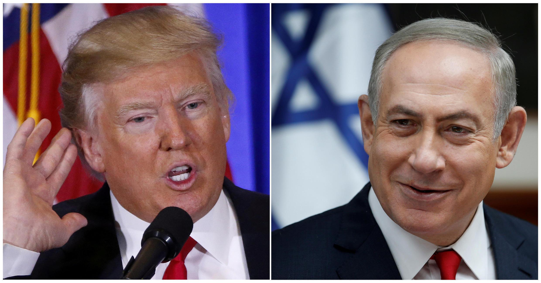 美國總統特朗普(左)將於2017年2月15會見以色列總理內塔尼亞胡