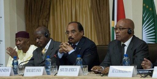 Rais wa Afrika Kusini Jacob Zuma akiongoza moja ya vikao vya kutafuta suluhu nchini Libya